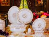 景德镇陶瓷餐具套装56头骨瓷餐具瓷器碗碟套装送礼品批发可印LG