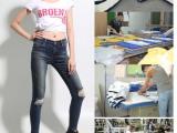 加工牛仔厂家现货直销女式欧美破洞瘦身减肥高弹低腰牛仔裤件代发