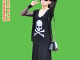 2014夏季新款韩版骷髅头镶钻连衣裙 长裙女装夏装 服装批发