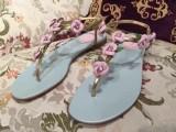 凉鞋2015夏季新款R家真皮花朵T型绑带平底人字凉拖鞋一件代女鞋