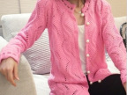 2014秋装新款韩版珍珠扣花边领竖波浪镂空女式针织开衫毛衣女