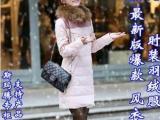 2013韩版特大毛领风衣款中长女羽绒服 时装款风衣式中长羽绒服女