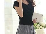 琳丽人2014新款夏装女韩版假两件短裙淑女显瘦褶皱雪纺连衣裙