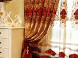 窗帘厂家直销 欧式高档遮光窗帘布 绒布拼接金丝提花窗帘批发
