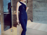 2015初秋新款女装韩版个性气质斜肩大牌修身显瘦连体裤连衣连身裤