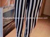 库存尾货女装批发原单外贸出口ZA*专柜超好品质仿绸缎竖条小脚裤