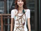 2014夏装新款女装衣服 大码韩版上衣修身小衫 长袖雪纺衫