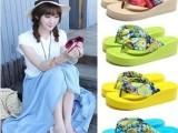 14新款女人字拖夏季厚底坡跟凉拖鞋防滑拖鞋 波西米亚绸缎沙滩鞋