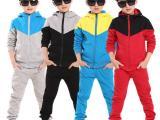 童装 新款韩版男女中大童春秋款拉链套装运动连帽两件套厂家直销