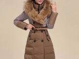 哥弟冬装新款韩版修身中长款羽绒服女连帽加厚带毛领羽绒保暖外套