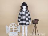 新款冬季韩版长袖双排扣翻领拼色格纹羊毛呢子女童长款大衣外套