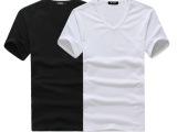 2013夏装男装新款个性半袖男士打底衫v领紧身短袖t恤男款黑色T