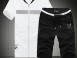 2014 精品男士韩版新款时尚潮流经典圆领T恤男套装白色黑色