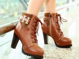 2013秋冬新品马丁靴时尚金属H扣系带粗跟防水台短靴女靴子