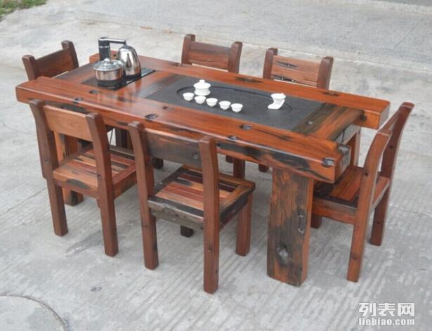 杭州老船木客厅阳台茶桌茶台茶几茶道桌船木创意茶几批发