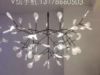 后现代展厅萤火虫吊灯客厅餐厅树枝叶子创意艺术设计师吊灯