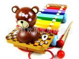 混批 木制铁琴 敲琴 八音敲琴 儿童击打玩具 小熊手敲琴