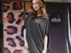 外贸原单女装韩版新款条纹雪纺上衣拼接大码宽松T恤短袖t恤女夏装