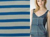 针织全棉氨纶弹力彩条2*2 2x2罗纹布 男女装t恤面料