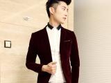批发男式修身西装 韩式男丝绒修身西服 潮