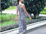 2014夏季新款女装 修身显瘦韩版无袖连衣裙 大码条纹背心裙女