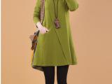 韩版秋装新款大码宽松休闲女经典圆领纯色显瘦批发长袖连衣裙