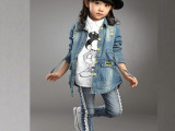 童装女童2014秋季新款韩版女孩时尚长袖牛仔外套女大童春款外套