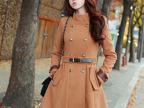 2013韩版冬季热销新款 立领双排扣 毛呢外套 修身女士呢子大衣