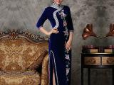 2015新品**手工钉珠冬旗袍长款丝绒旗袍复古改良高端女装品牌