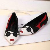 欧美潮鞋2013新款真皮拼色尖头平底墨镱创意美女鞋春秋平跟单鞋