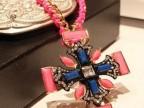 荧光项链 欧美 粉色丝带缠绕 十字短链 韩国 饰品 百搭 锁骨链 女