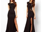 2014欧美外贸修身显瘦性感镂空开叉连衣裙背后蕾丝裙夜店礼服
