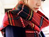 韩国 秋冬 女 学院英伦风羊绒百变格子围巾超长加厚保暖披肩围脖