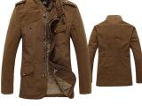 秋冬新品 加绒加厚商务休闲夹克外套男中长款衣服外套 一件代发