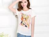 夏装韩版女装短袖t恤 印花打底衫一件代发雪纺衫女装批发地摊货源
