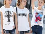 夏季新品蝙蝠衫印花韩版大码女装短袖t恤女宽松大板胖mm打底衫女