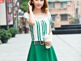 2015夏装新款韩版修身气质显瘦蕾丝花边镶钻假两件套雪纺连衣裙女