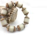 藏式菩提根手链批发 天然白根手串佛珠 单面桶珠