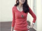 2014淘宝爆款秋季长袖T恤 女士长袖纯色圆领打底衫 牛奶丝T恤
