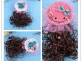 最新爆款网纱珍珠卡通蝴蝶结点钻小孩假发头花 弹簧夹鸭嘴夹批发