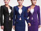 2014新款女式春秋职业装套装套裙 一粒扣修身长袖工装女西装外套