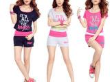 厂家直销2014夏装新款卫衣女韩版卫衣套装女夏薄款运动套装女款