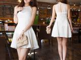 2015夏装新品韩版大码女装性感挂脖露肩大摆裙雪纺连衣裙