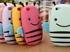 较新款立体小蜜蜂iphone4/4s手机壳 硅胶套 苹果5手机壳 卡通