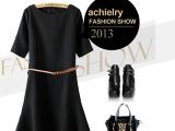 achielry 新品 欧美风十足帅气短袖修身圆领连衣裙 送腰带