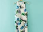 2014夏季女装 欧美假两件连衣裙 印花无袖雪纺短款连衣裙女批发