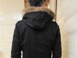 全棉加厚连帽领男式风衣中长款韩版时尚潮男明星同款秋装 男风衣