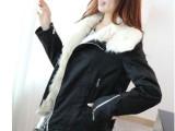 【实拍】秋冬新款 韩版机车服仿羊羔毛短款大翻领毛领棉袄女外套