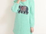 2013冬新款韩版时尚甜美贴布可爱小大象
