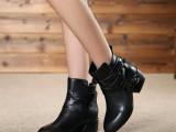 2014欧洲站秋冬新款真皮女靴粗跟短筒单靴马丁靴厂家批发一件代发